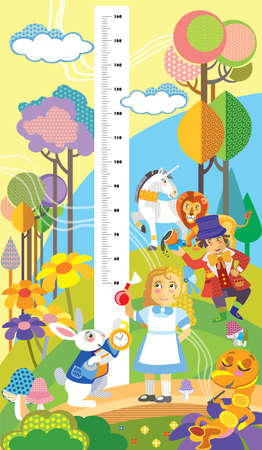 Height meter with Alice in Wonderland characters vector cartoon illustration in flat style. Vector vertical scale measurement for children. Great for printed products and souvenirs. Illustration