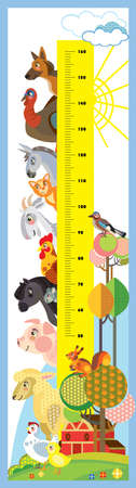 Height meter with pyramid of farm animals heads vector cartoon illustration in flat style. Vector vertical scale measurement with cute animals for children. Great for printed products and souvenirs. Vectores