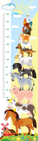 Height meter with pyramid of farm animals vector cartoon illustration in flat style. Vector vertical scale measurement with cute animals for children. Great for printed products and souvenirs.