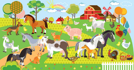 Farm animals vector cartoon illustration in flat style. Vector horizontal set of funny cute animals on farm. Great for printed products and souvenirs. Stock illustration Vectores