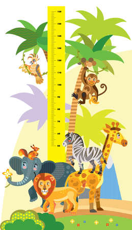 Height meter with wild animals vector cartoon illustration in flat style. Vector vertical scale measurement with cute african animals for children. Great for printed products and souvenirs.