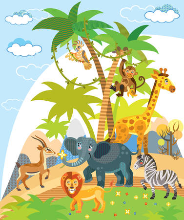 African wild animals colorful vector cartoon funny illustration in flat style. Vector vertical  illustration with cute african characters for children. Great for design, t- shirts, printed products and souvenirs. Vectores