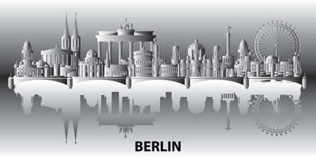 Panoramic Berlin skyline travel illustration with main architectural landmarks. Berlin traveling concept, monochrome gradient German tourism and journey vector background with reflection in water.