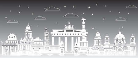 Panoramic Berlin skyline travel illustration with main architectural landmarks. Berlin traveling concept, monochrome gradient German tourism and journey vector background in twilight.