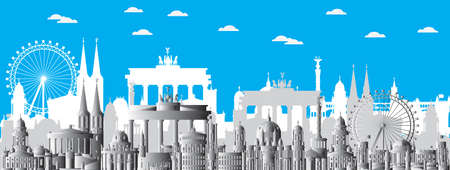 Horizontal Berlin skyline travel illustration with main architectural landmarks. Berlin traveling concept, monochrome gradient German tourism and journey vector background. Vectores