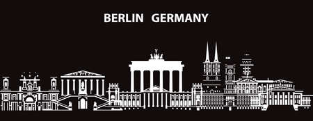 Horizontal abstract Berlin skyline travel illustration with architectural landmarks. Berlin traveling concept, German tourism and journey vector background in white and black colors.