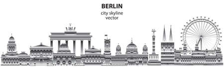 Horizontal abstract Berlin skyline travel illustration with architectural landmarks. Berlin traveling concept, German tourism and journey vector background in gradient white and black colors.