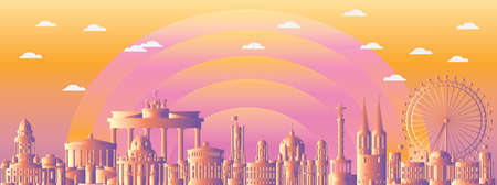 Horizontal abstract Berlin skyline travel illustration with architectural landmarks. Berlin traveling concept, German tourism and journey vector background in gradient colors.