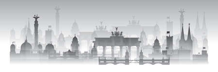 Horizontal Berlin skyline travel illustration with architectural landmarks and fog. Berlin traveling concept, German tourism and journey vector background in gradient white and black colors. Vectores
