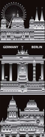 Vertical Berlin skyline travel illustration with architectural landmarks. Berlin traveling concept, German tourism and journey vector background in gradient white and black colors.