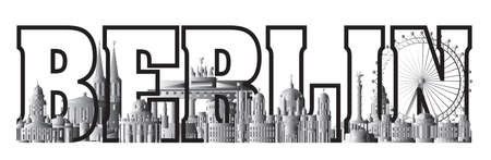 Horizontal Berlin travel lettering in black and white colors with architectural landmarks. Front view Berlin traveling concept. Panoramic flat illustration of Berlin. German tourism vector background.