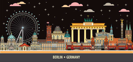 Colorful vector skyline of Berlin, Germany in  line art style. Flat vector isolated colorful illustration of main landmarks of Berlin front view by night. Vector icon, building outline travel concept.