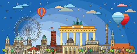 Colorful vector skyline of Berlin, Germany in  line art style. Flat vector isolated colorful illustration of main landmarks of Berlin front view in twilight time. Vector icon, building outline travel concept. Illustration
