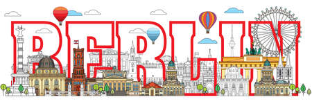 Colorful vector lettering with skyline of Berlin, Germany in line art style. Flat vector isolated colorful illustration of main landmarks of Berlin front view. Vector icon, building outline travel concept. Illustration
