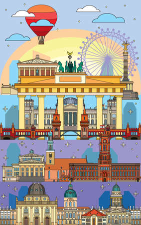 Colorful vector skyline of Berlin, Germany in line art style. Vertical vector flat illustration of main landmarks of Berlin front view. Vector icon, building outline travel concept.