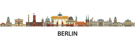 Colorful vector skyline of Berlin, Germany in  line art style. Flat vector isolated colorful panoramic illustration of main landmarks of Berlin front view. Vector icon, building outline travel concept.