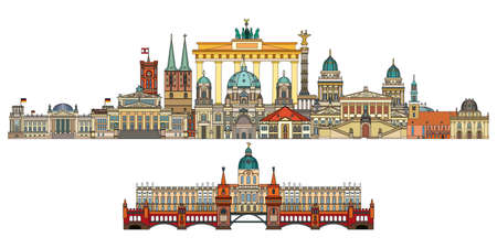 Colorful vector skyline of Berlin, Germany in  line art style. Flat vector isolated colorful horizontal illustration of main landmarks of Berlin front view. Vector icon, building outline travel concept.