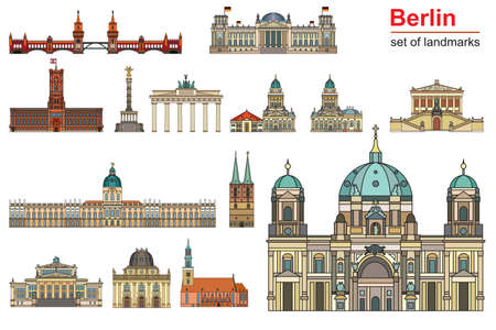 Colorful vector set of landmarks of Berlin, Germany in  line art style. Flat vector colorful illustration of attractions of Berlin front view isolated on white background. Vector icon, building outline travel concept.