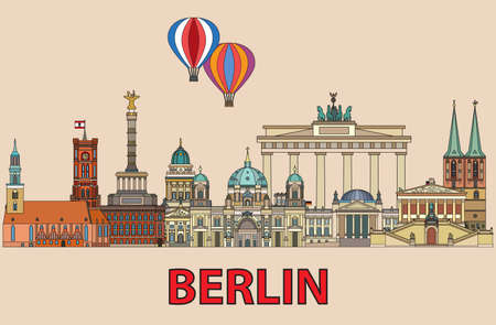 Colorful vector skyline of Berlin, Germany in  line art style. Flat vector colorful illustration of main landmarks of Berlin front view isolated on beige background. Vector icon, building outline travel concept. Illustration