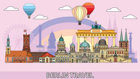 Colorful vector skyline of Berlin, Germany in  line art style. Flat vector colorful illustration of main landmarks of Berlin front view isolated on pink background. Vector icon, building outline travel concept.