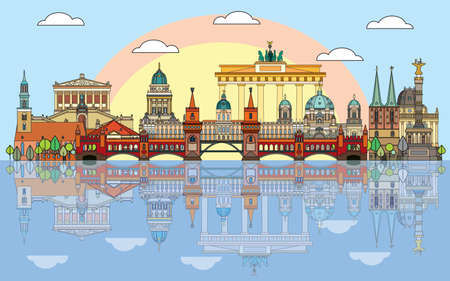 Colorful vector skyline of Berlin, Germany in  line art style. Flat vector isolated colorful illustration of main landmarks of Berlin front view with reflection in water. Vector icon, building outline travel concept. Vectores