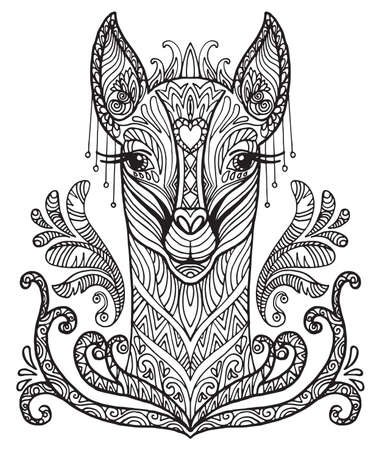 Vector decorative doodle ornamental head of  lama. Abstract vector illustration of lama black contour isolated on white background. Stock illustration for coloring, design and tattoo.