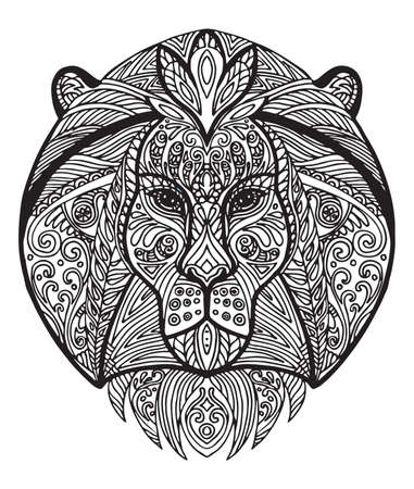 Vector decorative doodle ornamental head of lion. Abstract vector illustration of lion black contour isolated on white background. Stock illustration for coloring, design and tattoo.  Illustration