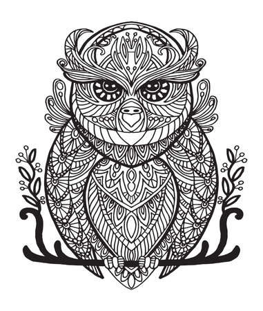 Vector decorative doodle ornamental owl. Abstract vector illustration of owl black contour isolated on white background. Stock illustration for coloring, design and tattoo.  Illustration