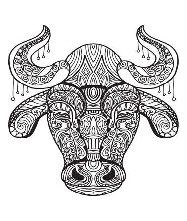 Vector decorative doodle ornamental head of bull. Abstract vector illustration of bull black contour isolated on white background. Stock illustration for coloring, design and tattoo.