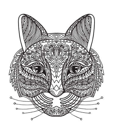Vector decorative doodle ornamental head of cat. Abstract vector illustration of cat black contour isolated on white background. Stock illustration for coloring, design and tattoo.