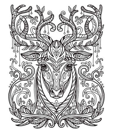 Vector decorative doodle ornamental head of deer. Abstract vector illustration of lion black contour isolated on white background. Stock illustration for coloring, design and tattoo.  Illustration