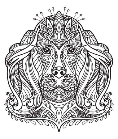 Vector decorative doodle ornamental head of dog. Abstract vector illustration of dog black contour isolated on white background. Stock illustration for coloring, design and tattoo.