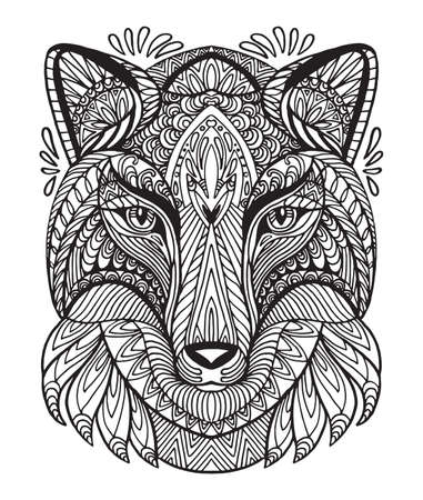 Vector decorative doodle ornamental head of wolf. Abstract vector illustration of wolf black contour isolated on white background. Stock illustration for coloring, design and tattoo.