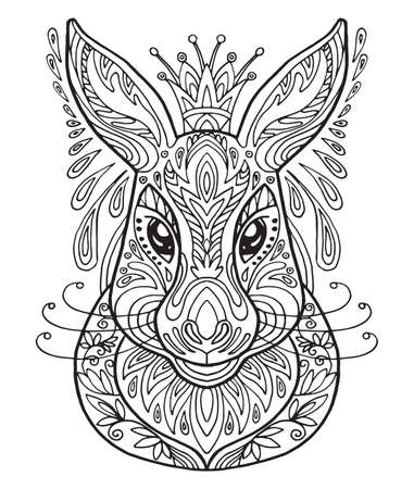 Vector decorative doodle ornamental head of hare. Abstract vector illustration of hare black contour isolated on white background. Stock illustration for coloring, design and tattoo.  Vectores