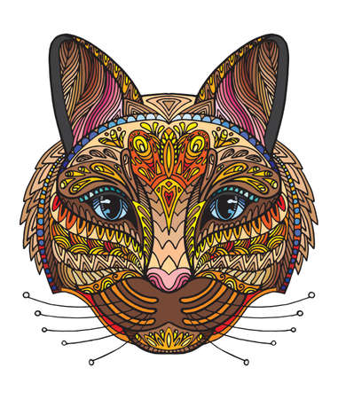 Vector decorative doodle ornamental head of cat. Abstract vector colorful illustration of cat head isolated on white background. Stock illustration for print, design and tattoo.