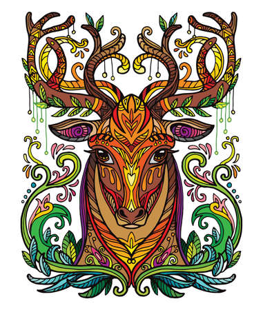 Vector decorative doodle ornamental head of deer. Abstract vector colorful illustration of deer head isolated on white background. Stock illustration for print, design and tattoo.