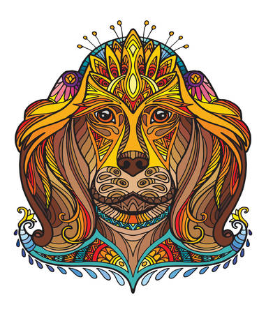 Vector decorative doodle ornamental head of dog. Abstract vector colorful illustration of dog head isolated on white background. Stock illustration for print, design and tattoo.  Vectores