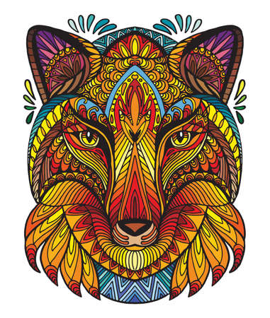 Vector decorative doodle ornamental head of fox. Abstract vector colorful illustration of fox head isolated on white background. Stock illustration for print, design and tattoo.