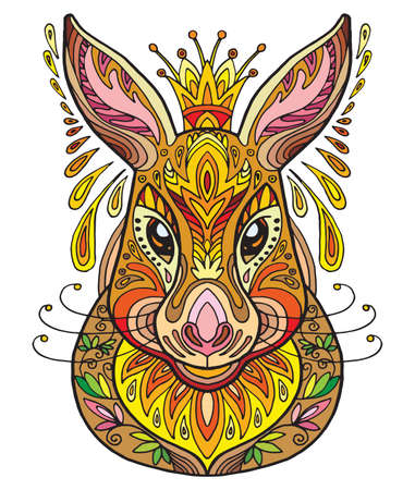 Vector decorative doodle ornamental head of hare. Abstract vector colorful illustration of hare head isolated on white background. Stock illustration for print, design and tattoo.  Vectores