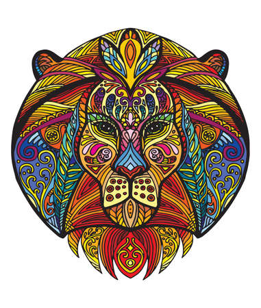 Vector decorative doodle ornamental head of lion. Abstract vector colorful illustration of lion head isolated on white background. Stock illustration for print, design and tattoo.