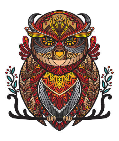 Vector decorative doodle ornamental owl. Abstract vector colorful illustration of owl isolated on white background. Stock illustration for print, design and tattoo.