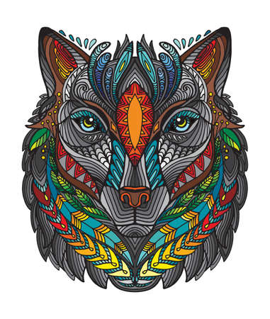Vector decorative doodle ornamental head of wolf. Abstract vector colorful illustration of wolf head isolated on white background. Stock illustration for print, design and tattoo.