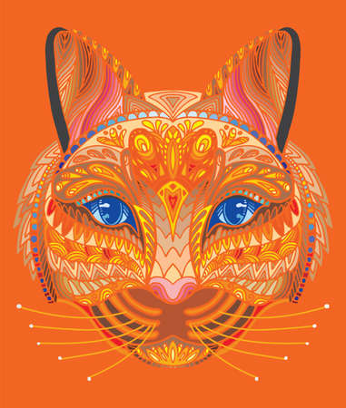 Vector decorative doodle ornamental head of cat. Abstract vector colorful illustration of cat head isolated on orange background. Stock illustration for print, design and tattoo.