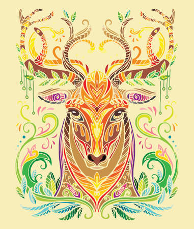 Vector decorative doodle ornamental head of deer. Abstract vector colorful illustration of lion head isolated on yellow background. Stock illustration for print, design and tattoo.  Illustration