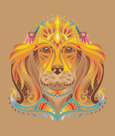 Vector decorative doodle ornamental head of dog. Abstract vector colorful illustration of dog head isolated on brown background. Stock illustration for print, design and tattoo.