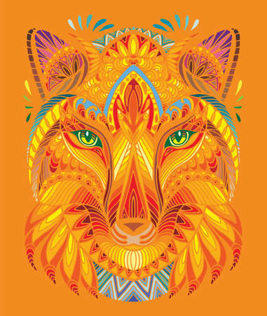Vector decorative doodle ornamental head of fox. Abstract vector colorful illustration of fox head isolated on orange background. Stock illustration for print, design and tattoo.
