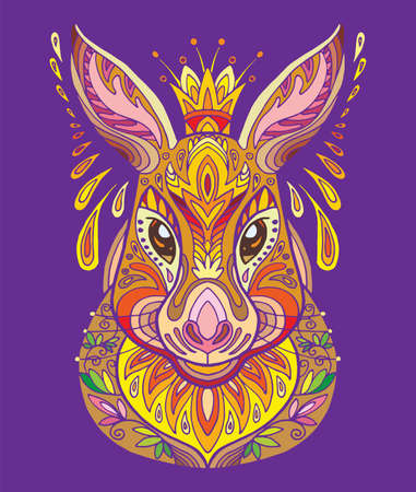 Vector decorative doodle ornamental hare. Abstract vector colorful illustration of hare isolated on purple background. Stock illustration for print, design and tattoo.
