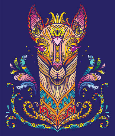 Vector decorative doodle ornamental lama. Abstract vector colorful illustration of lama isolated on blue background. Stock illustration for print, design and tattoo.  Vectores