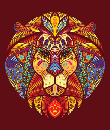 Vector decorative doodle ornamental head of lion. Abstract vector colorful illustration of lion head isolated on red background. Stock illustration for print, design and tattoo.