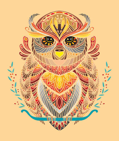 Vector decorative doodle ornamental owl. Abstract vector colorful illustration of owl isolated on beige background. Stock illustration for print, design and tattoo.